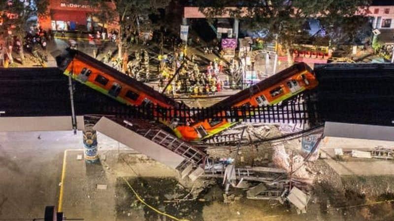 Se derrumba un tramo del metro en ciudad de México