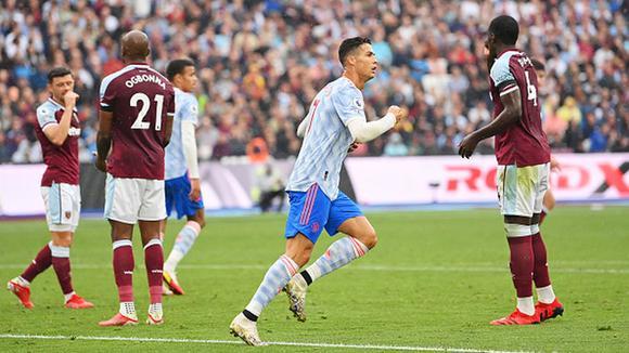 CR7 vuelve a marcar en la premier league Manchester United 2 West Ham 1